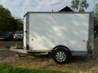 Car box trailer by Ifor Williams, single axle, loading ramp/doors.