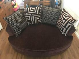 Dfs 4 seater sofa and 2 seater cuddler chocolate brown