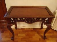 """MAHOGANY CARVED HALL TABLE 31"""" WIDE 26"""" tall LOVELY BALL AND CLAW FEET COST £240 BARGAIN REDUCED £40"""