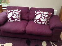 Purple three seat couch, excellent condition