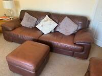 DFS 3 and 2 seater settees and storage pouffe