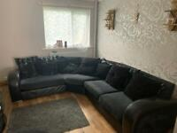 Big corner couch, snuggle chair and footstool