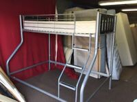 SILVER METAL HIGH SLEEPER SINGLE BED WITH MATTRESS,CAN DELIVER