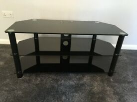 For sale large TV stand in black metal and black glass £20