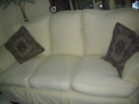 cream 3 seater sofa and chair