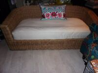 BARKER & STONEHOUSE beautiful solid basket wicker oval shape sofa with cushion