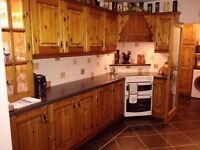 Lovely Traditional Petina Pine Kitchen with Illuminated Display Cabinet