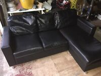 Black corner sofa (leather)