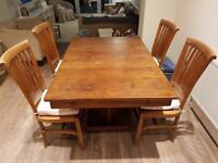Extendable Handmade Dining Table and Four Chairs - Solid Wood