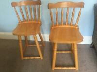 Two Kitchen Pine CHAIRS Good condition R113 COLLECTION ONLY