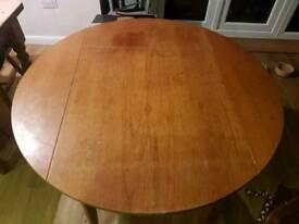 115cm drop leaf table, solid wood.
