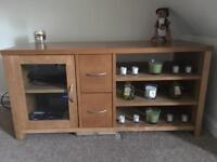Large tv stand with shelves draws and glass cupboard door