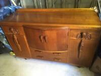 Vintage Solid Wood Veneer Sideboard - 1950s