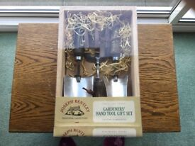 Joseph Bentley traditional stainless steel garden hand tool set with solid ash handles.