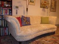 Plush 3 seater sofa for sale, as new, curved seat, cream.