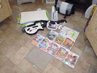 Nintendo Wii Bundle - Wii Fit Board + Guitar + Storage Bags + Games