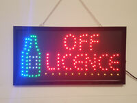 LED Flashing OFF LICENCE sign for shop business door hanging window
