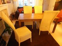 LLOYD LOOM HIGH BACKED PAINTED DINING CHAIRS