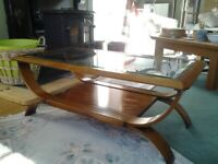 Coffee table, very elegant, bent wood and glass.