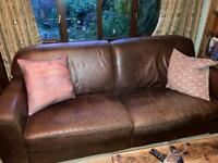 Leather long sofa