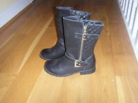 John Lewis Girls Black Quilted Calf Height Black Leather Boots Size 5; Excellent Condition Worn Once