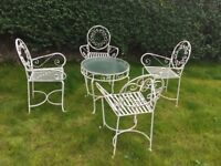 Patio garden furniture white glass topped table and 4 Chairs