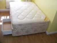 CAN DELIVER - DOUBLE DIVAN BED WITH CLEAN MATTRESS AND 2 DRAWERS