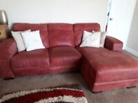 Red Natural Leather Chaise Corner Sofa