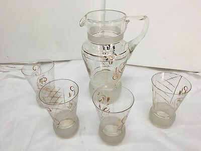 Pitcher & Glasses For Cocktail Vintage Glass Years 50