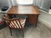 Middle century oak desk + Gplan armchair