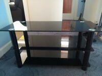 Glass TV Stand with three shelves