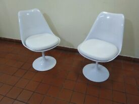 PAIR of all white tulip chairs (£89 each new so half price) like new central London bargain