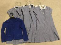 7-8 years, girl's blue school dresses