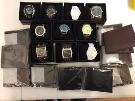 WHOLESALE CARBOOT JOBLOT OF 10 MENS WATCHS AND WALLETS.