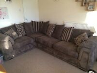DFS corner sofa and large swivel chair
