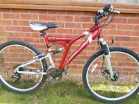 Gents large size aluminium full suspension mountain bike.