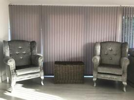 Pair of brand new chesterfield silver crushed velvet wing back chairs sofas