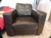 Furniture Village Warm Brown Leather Armchair