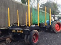 Log Timber Trailer. Lorry axle. Strong.