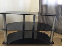 Black glass TV unit and 2 matching side tables