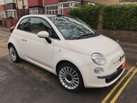 2012 White Fiat 500 Lounge, VERY LOW MILES, MOT 12.18, Half Leather, Alloys, Panoramic roof, FINANCE