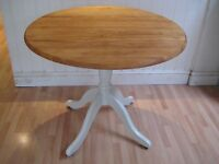 Lovely Round Solid Wood Kitchen / Dining Table - Frame & legs painted in Farrow & Ball Eggshell