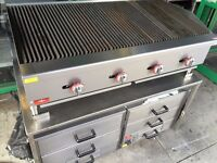 COMMERCIAL CATERING NEW GAS 4 BURNER BBQ KEBAB PERI PERI CHICKEN CHAR FLAME WATER GRILL FAST FOOD