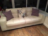 White Leather 3 Seat Sofa with matching foot stool including internal storage