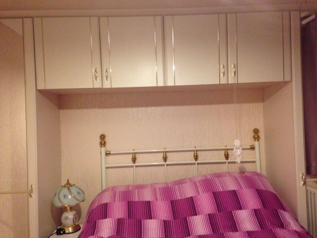 Overhead Bedroom Furniture Overhead Wardrobe Mirror Bedroom Cupboard White Gold Trim In