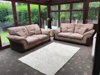 Dfs® 2 X 2 Seater Brown Suede Fabric Sofas Good Condition