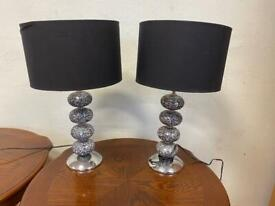 Pair of mirrored lamps