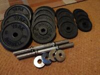 Gold's gym cast iron weights and dumbell bars