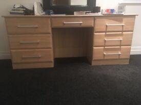 Oak dressing table and two oak bedside cabinets