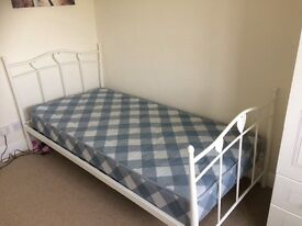 Single bed with mattress white metal frame